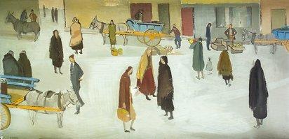 2102: Barbara Warren RHA (b.1925) Galway Market  Oil on