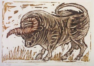 3002: John Behan RHA (b.1938) Bull Etching, 25 x 36cm S