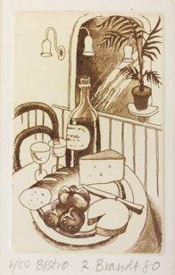 3013: Ruth Brandt (1936-1989) Bistro Etching 10 x 6cm S