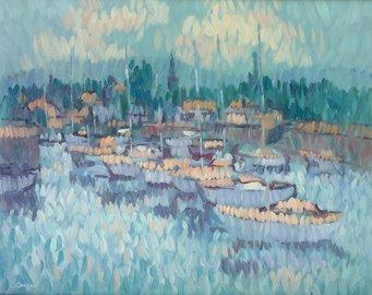 3017: Desmond Carrick, RHA, (b.1928) Yachts in Harbour