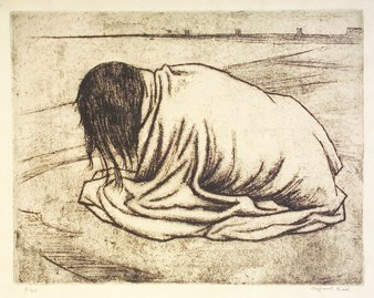3021: Clifford Hall (1904-1973) Girl in a Blanket Litho