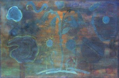 3023: Noreen Rice, (b.1936) Flowers in a Dark Landscape