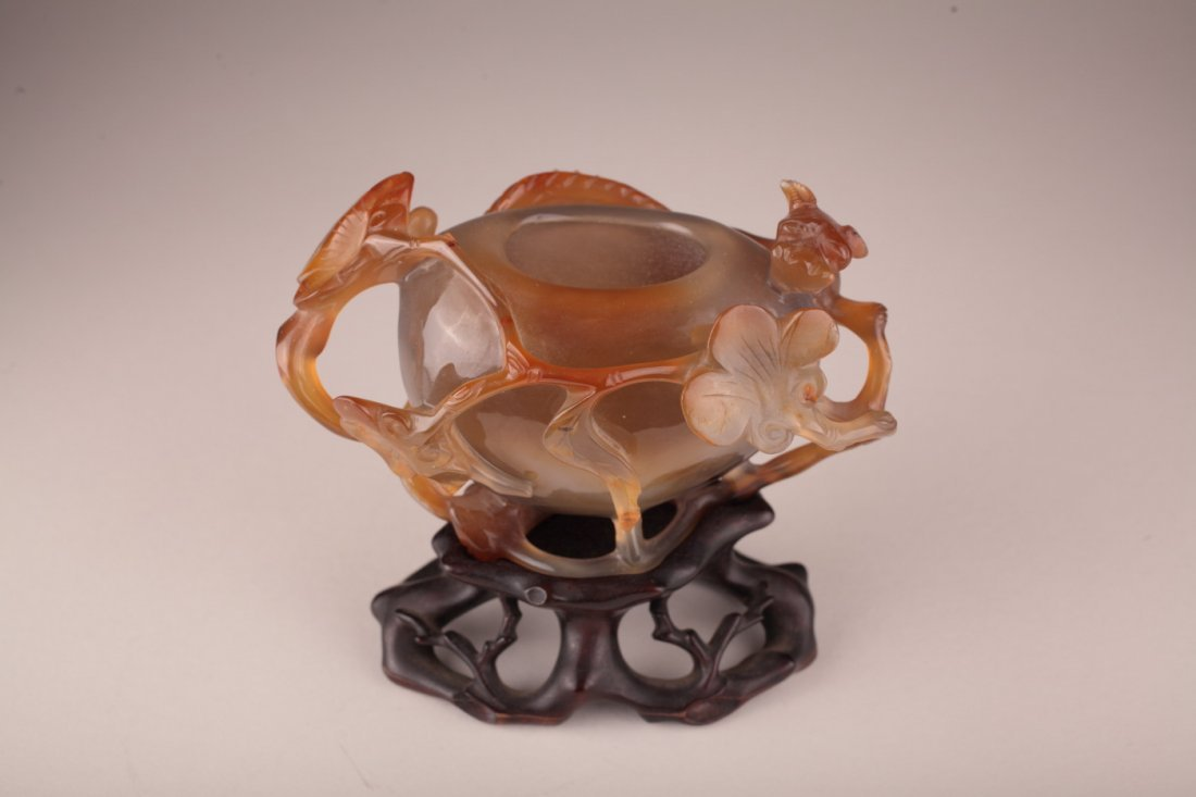 A Chinese Agate Water Coupe with Dragon
