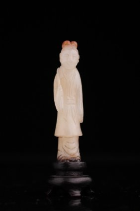 Song-ming Chinese White Jade Figure Of A Man
