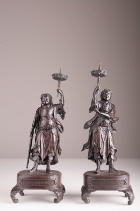 A Pair Of Japanese Bronze Buddhist Guardian Figure