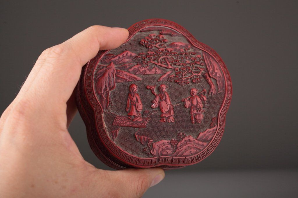 A Chinese Flower-shaped Cinnabar Red Lacquer Box