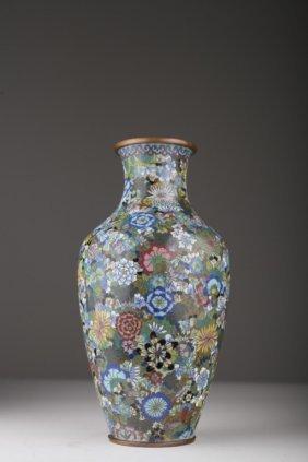 A Chinese Cloisonné Mille Fleur Baluster Vase