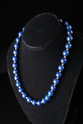 A Lapis Lazuli Beaded Necklace With Gold Findings