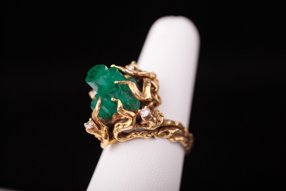 14kt Brutalist Rough Emerald & Diamond ring