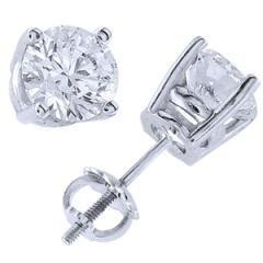 Platinum & Round Diamond Stud Earrings (4.00 ctw)
