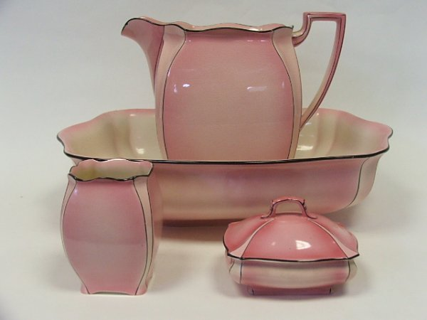 701: A Grimwades Art Nouveau Part Toilet Set in Pink Co