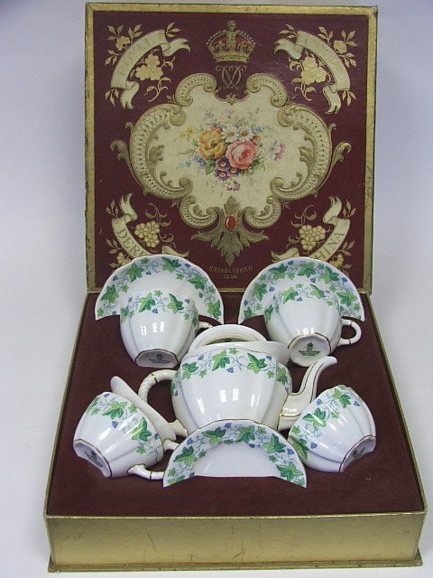 706: A Boxed Royal Crown Derby Tea for Two Set with Ivy