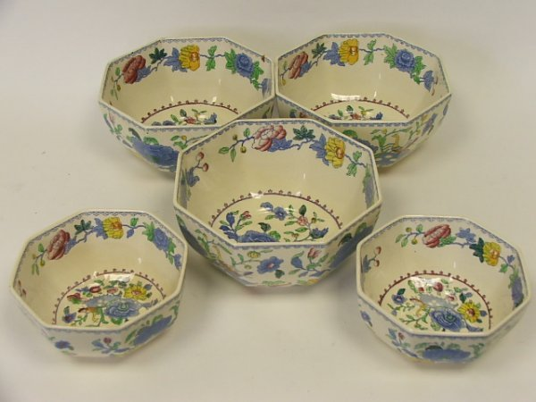 711: A Set of Three Masons Regency Octagonal Bowls and