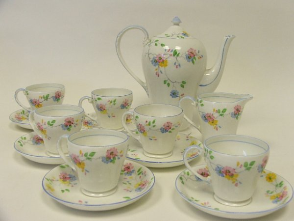 720: A Pretty Hand Painted Floral Coffee Service by Gra