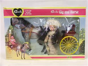 Sindy's Gig and Horse with Sindy Doll, in original
