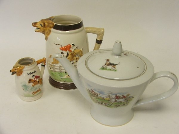 901: A Burleigh Ware Teapot with hunting scenes togethe