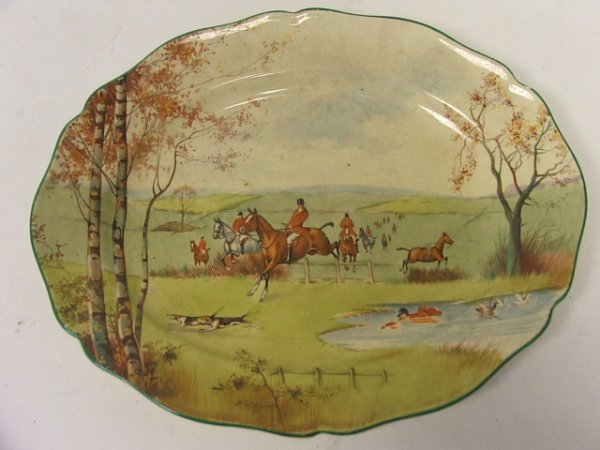 902: An Oval Royal Doulton Decorated Plate 'Fox-Hunting