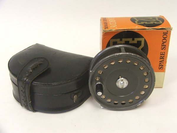 916: A Hardy Reel and spare spool with case, the St. Jo