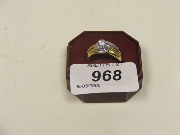 968: An 18ct Yellow and White Gold Diamond Ring, 0.25ct