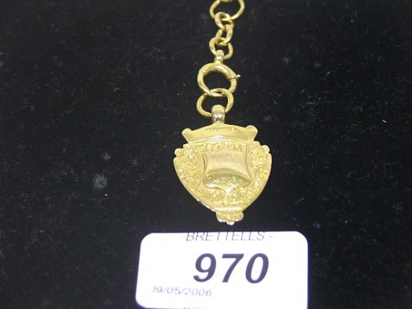 970: An Antique 9ct Fob Metal, Dated 1913, 7.3g