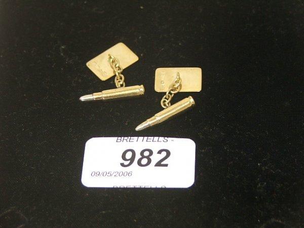 982: A Pair of 9ct Yellow Gold Bullet Cufflinks, 7.1g
