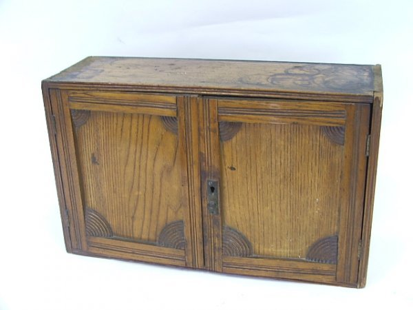 2: An Oak Stationery Box with two doors to shelved inte