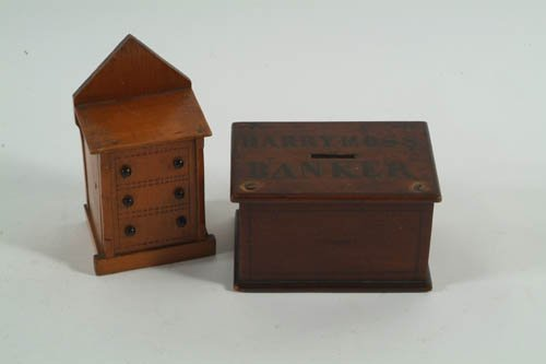 3: Two Small Victorian Moneyboxes, one in the form of t