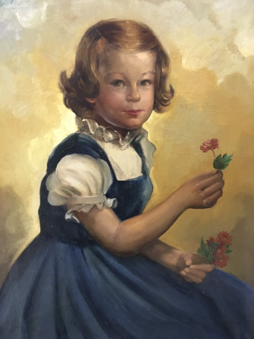 Oil On Canvas Portrait of a young girl