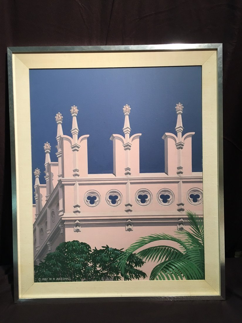 A large architectural painting by W H Marshall