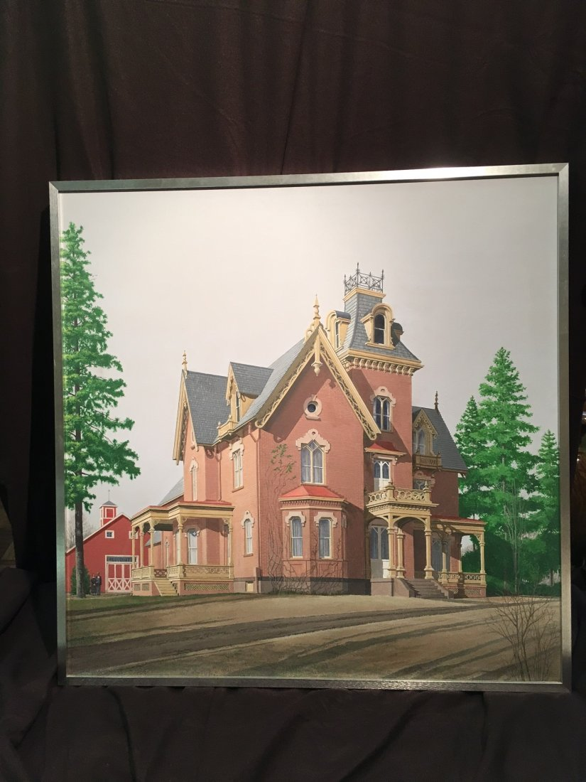 Large acrylic painting by W H MARSHALL american Gothic