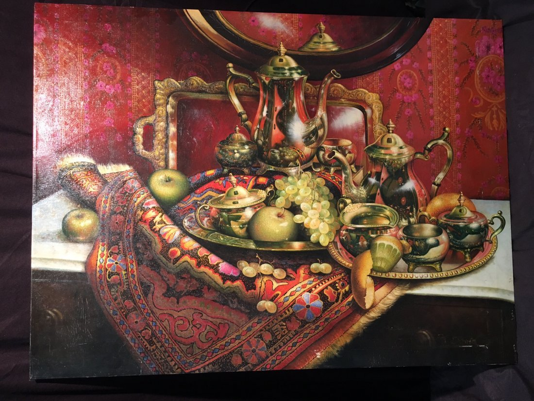 A very large Giclee print on canvas of still life