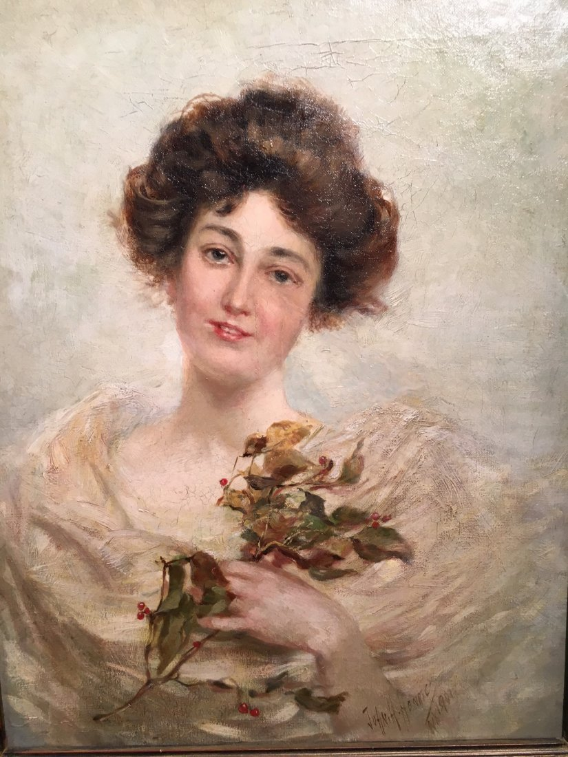 Antique Oil portrait painting by John H HENRICI