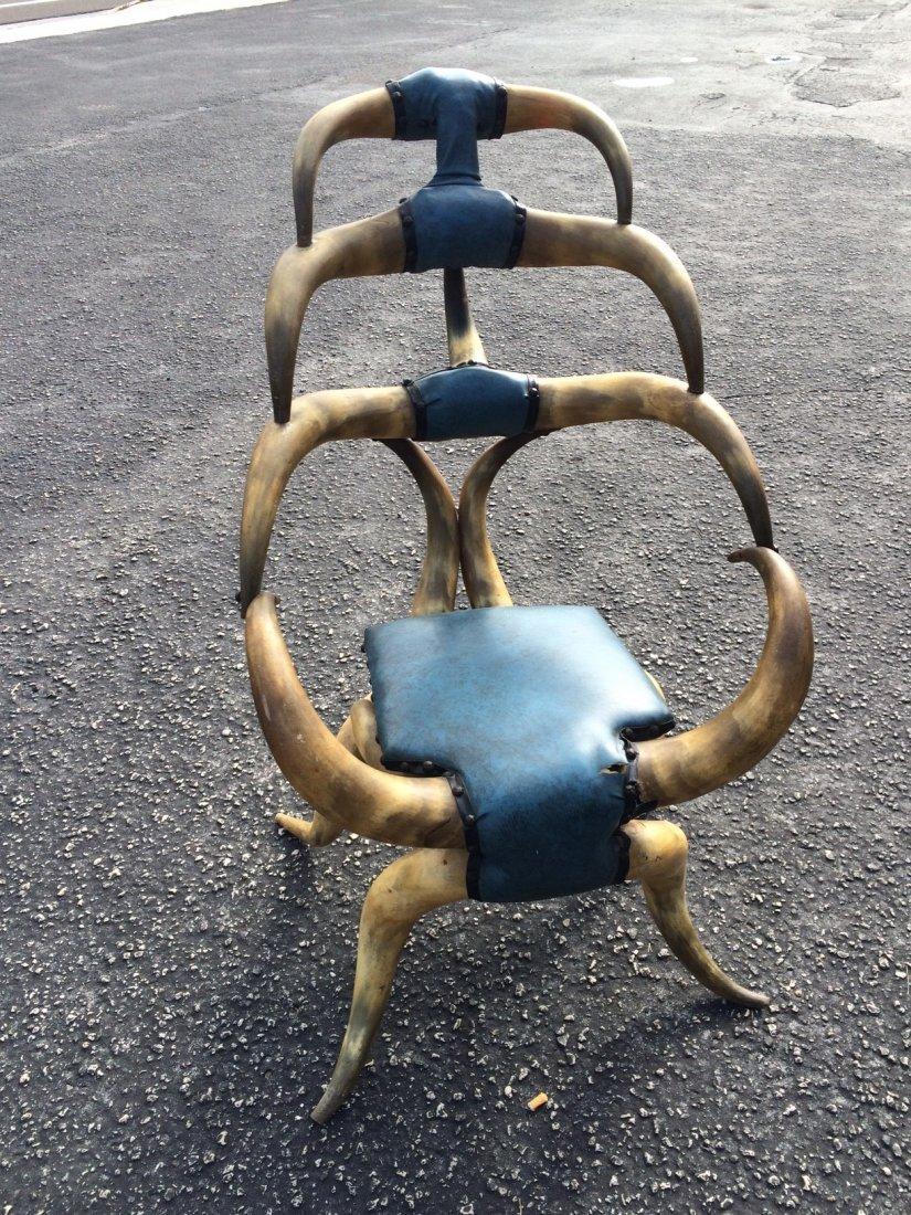 Antique American rustic steer Horn Chair
