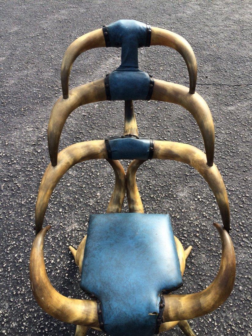 Antique American rustic steer Horn Chair - 4