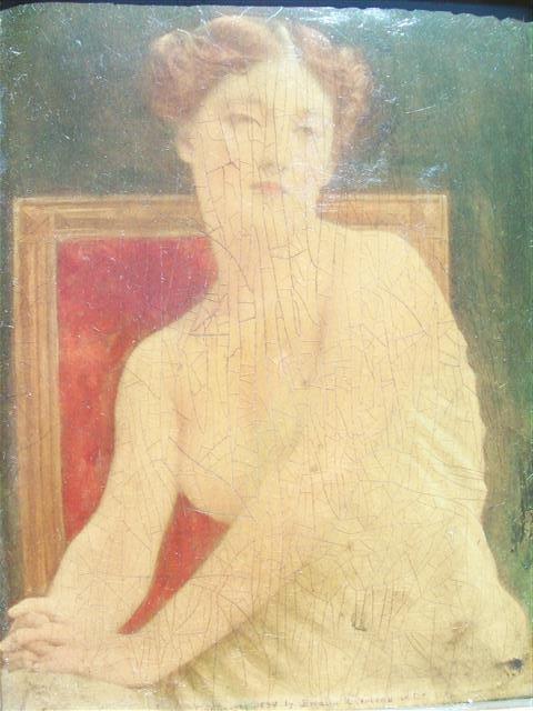 Antique portrait framed painting on porcelain