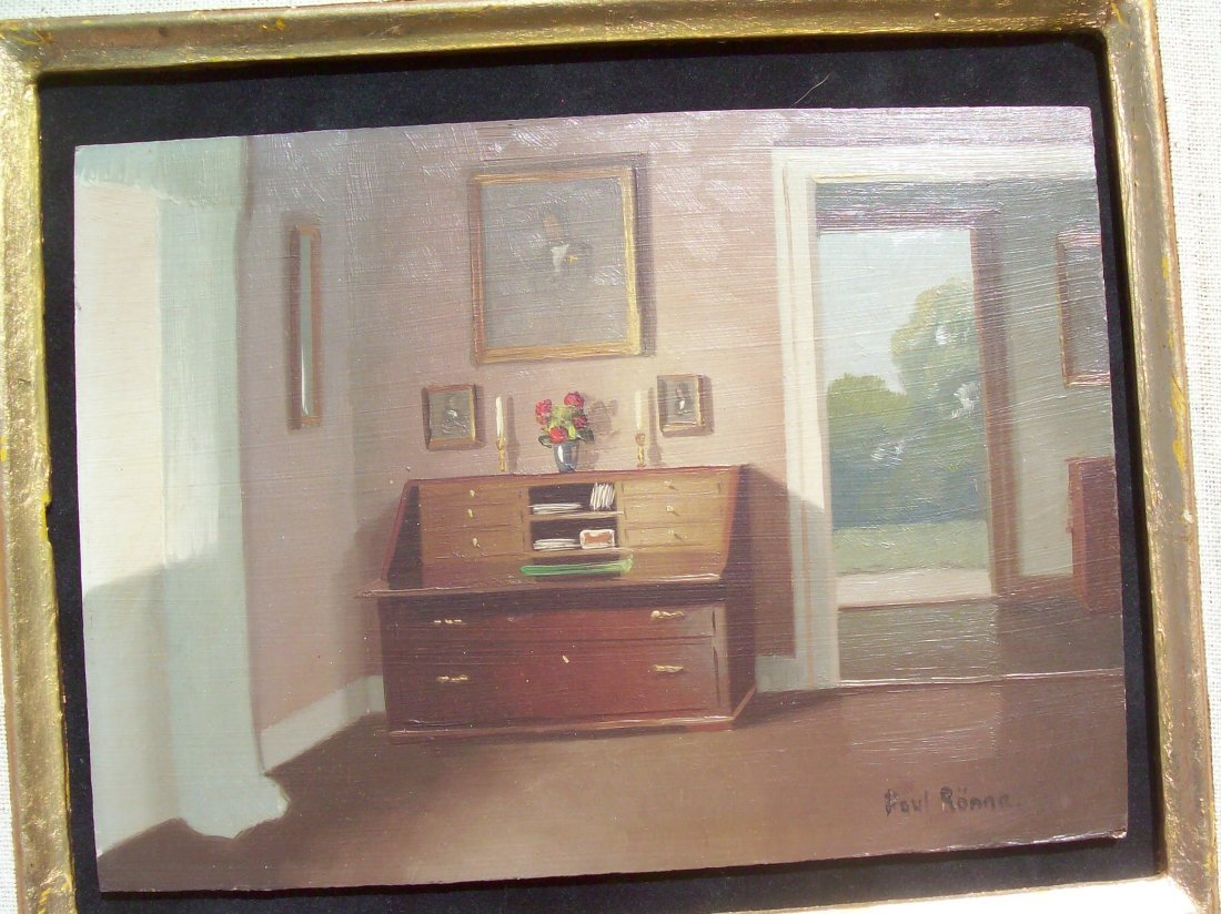Paul Ronne oil on panel painting- Listed Danish artist