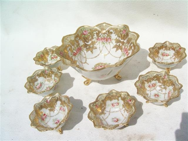 ANTIQUE NIPPON 7 Piece Bowls - Gold Plated