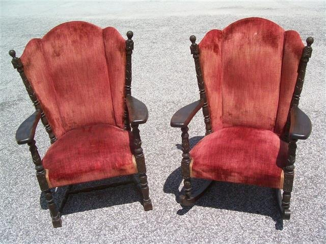Two -  antique Queen Anne style  Wingback chairs