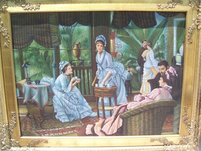 """A massive oil painting after James Tissot  50"""" x 62"""""""