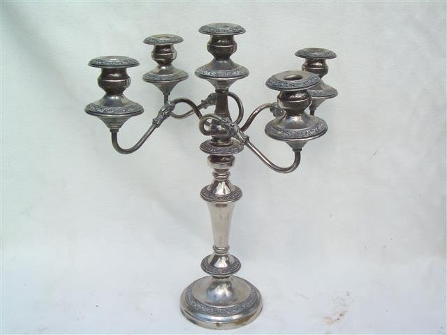 "Silver plated Single unit Candelabra 19"" tall"