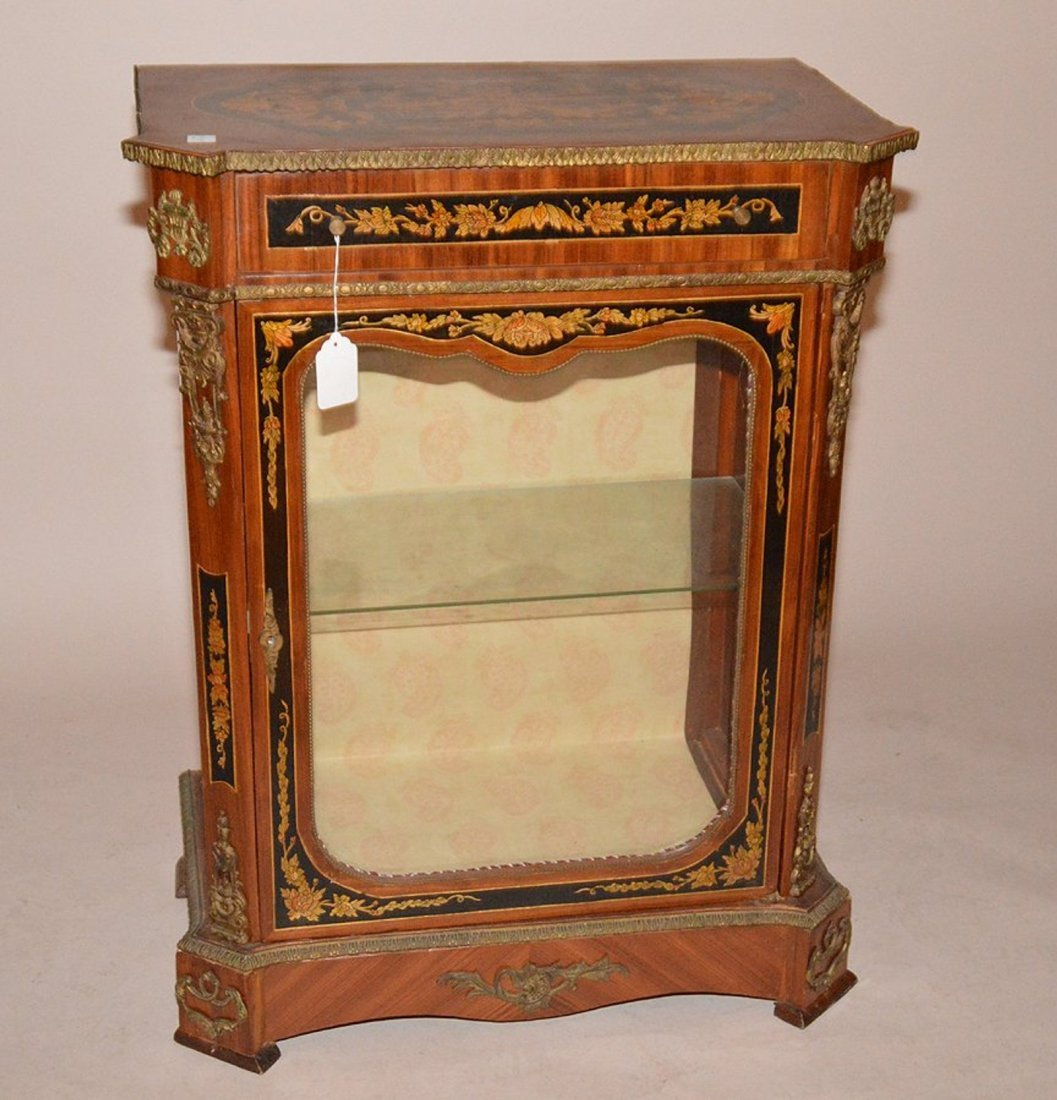 A French hand painted Marquetry style cabinet