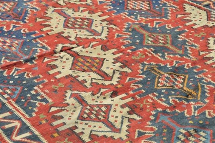 ANTIQUE CAUCASIAN KUBA kilim flat woven RUG