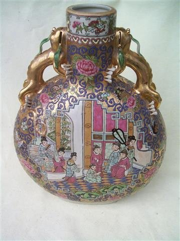 A large Chinese Canton Famille Rose Moon Flask