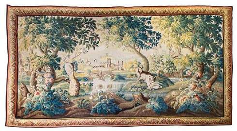 18th century large French verdure tapestry