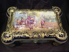 A Large Hand painted French Sevres Box, signed ANCRY