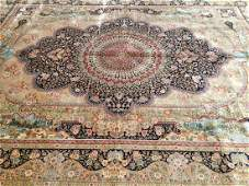 Important pure Silk Handwoven room size rug
