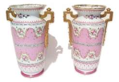 Pair of vintage Limoges porcelain urns 14 inches tall