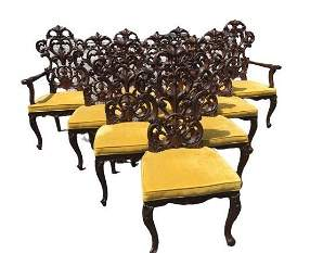 Set of Ten Revival French Spanish Gothic dinning Chairs
