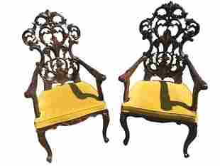 Pair of French Revival Gothic Renaissance Carved Chairs