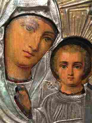 Antique Russian Icon of Madonna and child